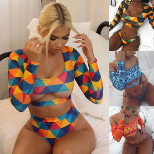 Summer Sexy Women Long Sleeve Short Paragraph Bikini Set Push-Up Bandage Swimwear Swimsuit Bathing Suit