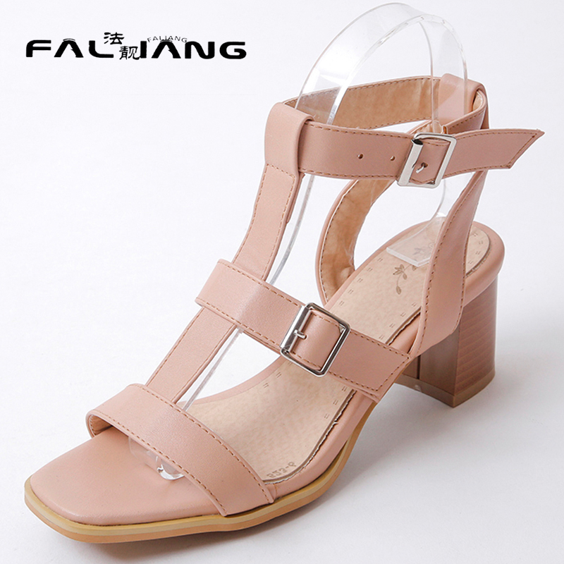 New arrival Summer plus size 11 12 13 14 Fashion Flock Gladiator womens shoes Hand sewn Rough with Summer high heel sandals new 2017 spring summer women shoes pointed toe high quality brand fashion womens flats ladies plus size 41 sweet flock t179