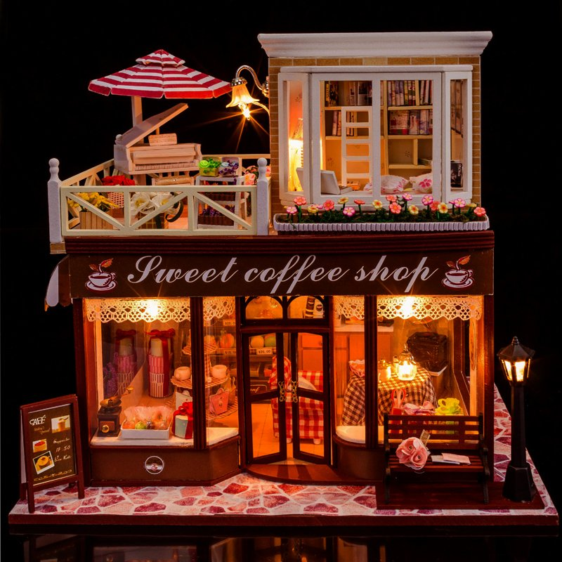 Doll House Include Dust Cover  Large cafe Miniature Wooden Dollhouse Furniture Model Toys Christmas Birthday Gift  Meet Happy d030 diy mini villa model large wooden doll house miniature furniture 3d wooden puzzle building model