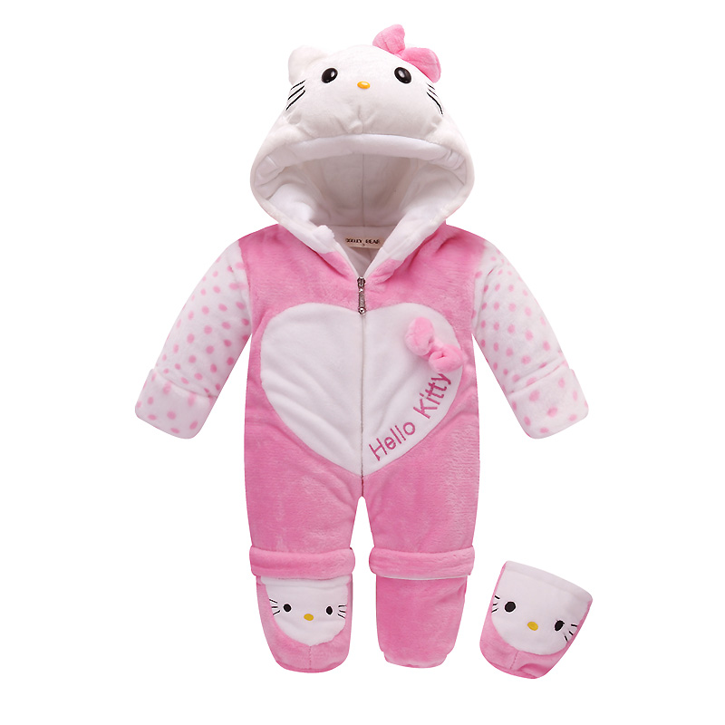 Winter Thickened Cotton Baby Clothing Warm Baby Rompers Onesie Long Sleeve Cartoon Hello Kitty Hooded Jumpsuits for 0-2Y Infant cotton baby rompers set newborn clothes baby clothing boys girls cartoon jumpsuits long sleeve overalls coveralls autumn winter