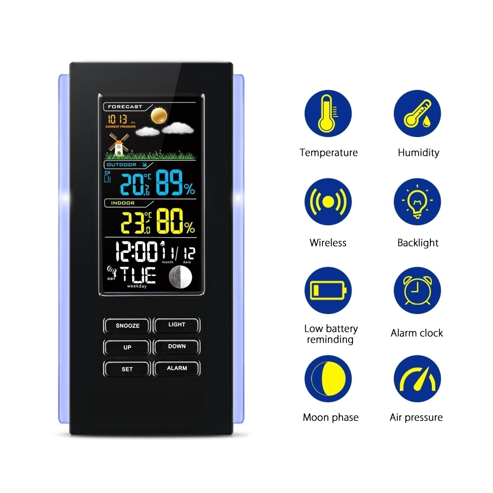 Wireless Color Weather Station EU/US Plug Weather Forecaster In/Outdoor Temperature Humidity Alarm Snooze Function