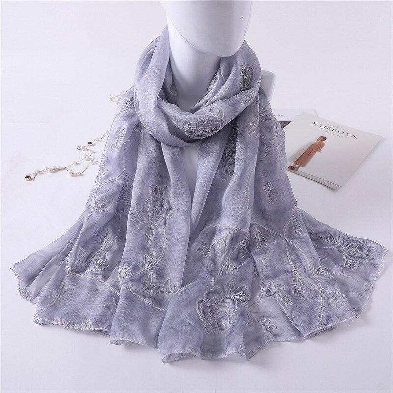 2019 luxury brand Women Silk   scarf   Shawl and Echarpe Luxurious Rose embroidered   Wrap   Designer   scarves   female stole bandana hijab