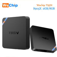 Оригинальный wechip T95N Android 6.0 TV Box Amlogic S905X 2 г 8 г Quad Core 2.4 г Wi-Fi Коди 16.0 H.265 4 К Smart Media Player
