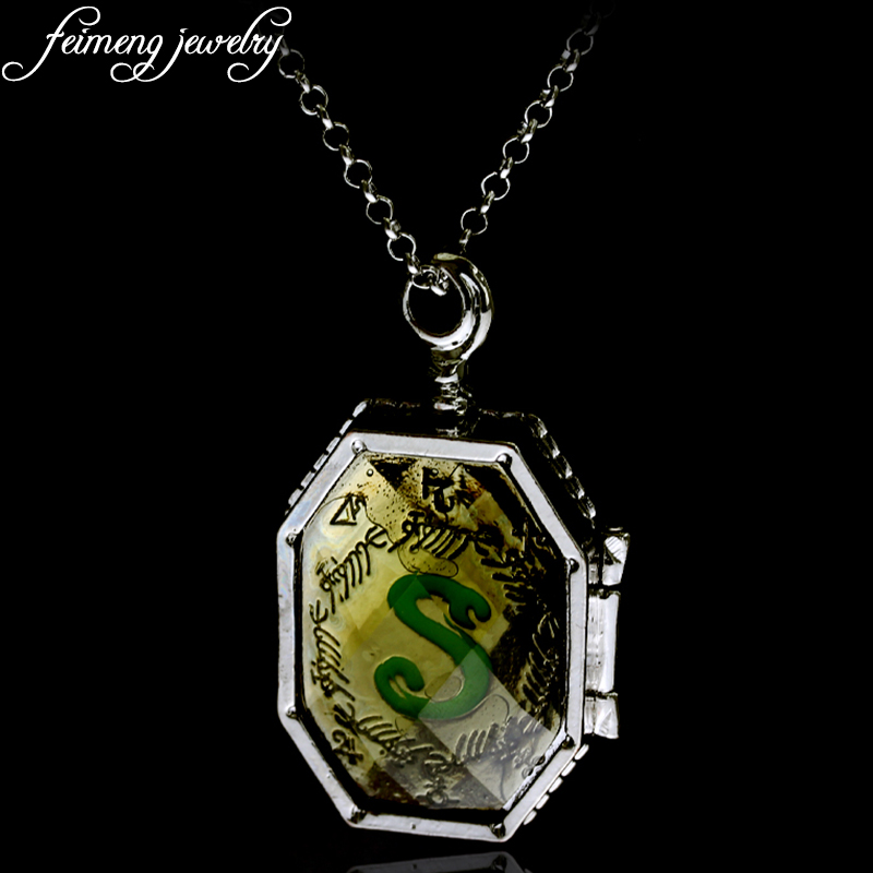 feimeng jewelry Slytherin Horcrux Locket Necklace Simple Snake Pattern Can Open Pendant Necklace For Men and