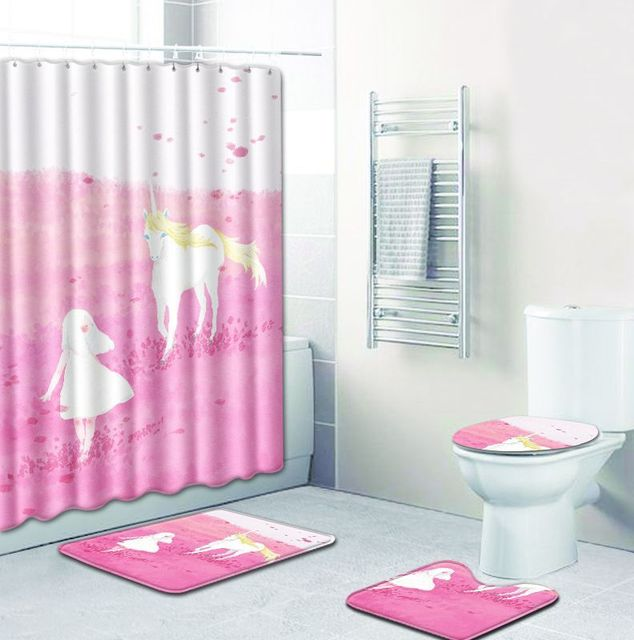 T Unicorn Bath Mats 4pcs Fairy Bathroom Shower Curtain And Rug Sets