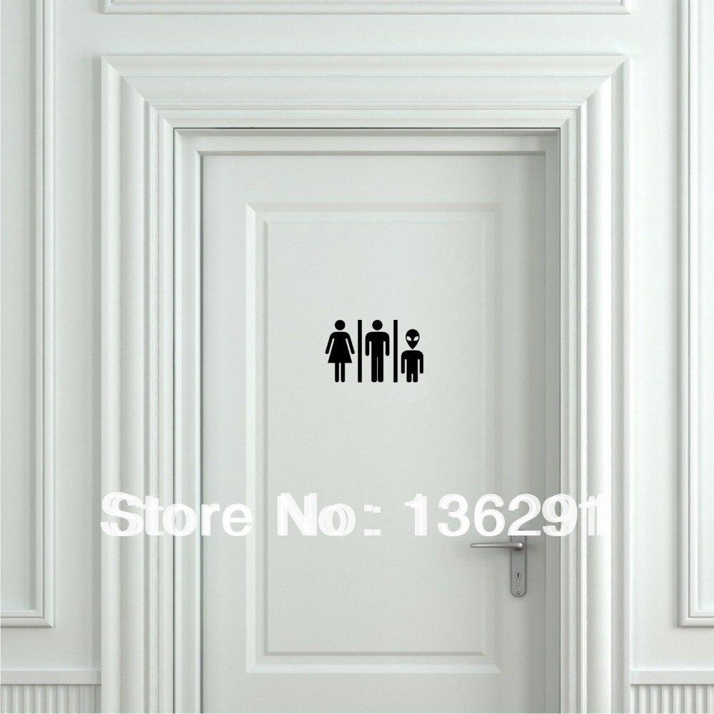 Diy Funny Alien Toilet Sign Door Sticker Door Decal