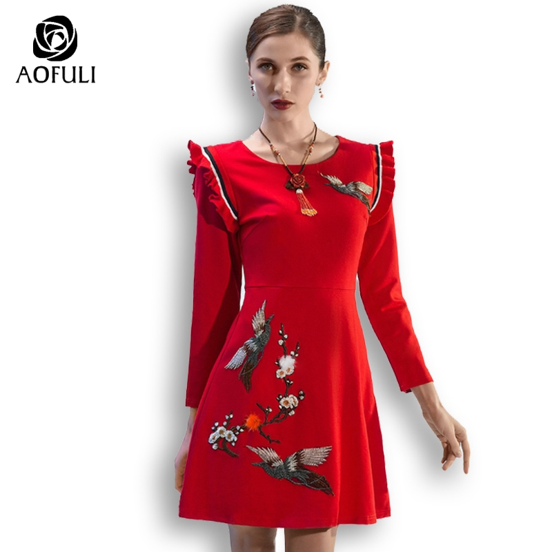 AOFULI L Xxxl 4xl 5xl Chinese Style 3D Embroidery Women Dress Long Sleeves Plus Size Casual