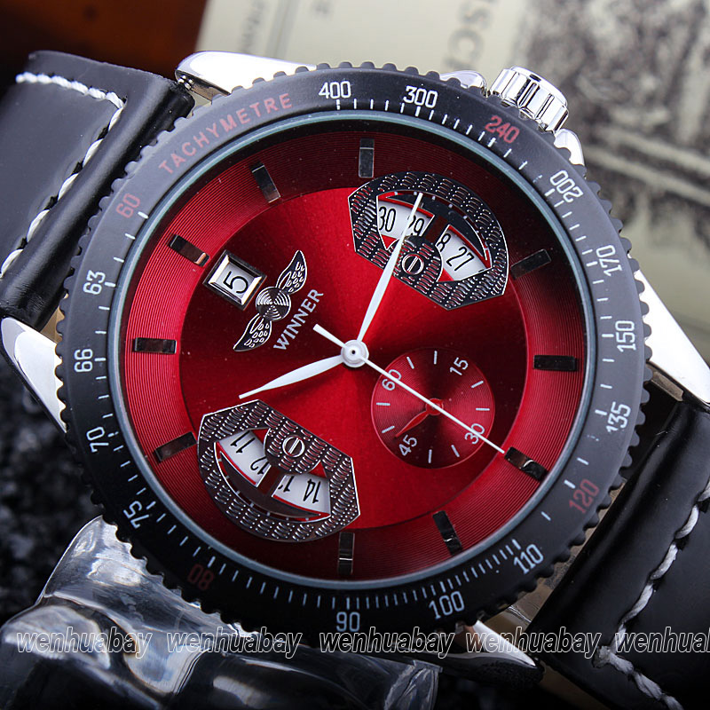 Luxury Fashion Men's Automatic Mechanical Watch Red Dial Auto Date Analog Black Leather Strap Wrist Watch Best Gifts For Men Boy