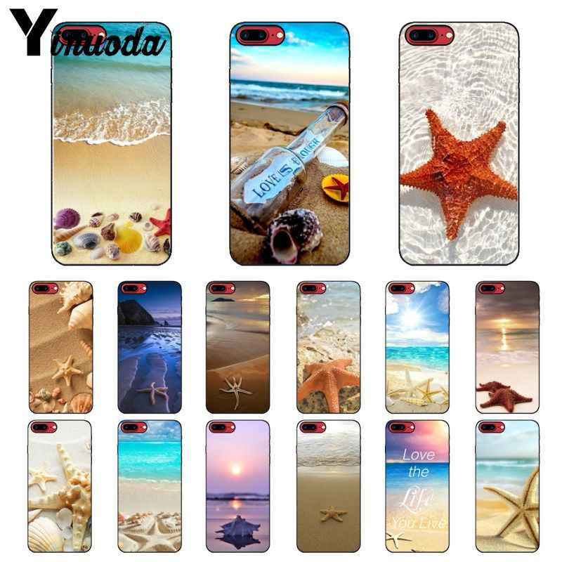 Yinuoda Beach Starfish Shell Paisagem Suave Silicone preto Phone Case para iPhone 5 8 7 6 6 S Plus 5S SE XR X XS MAX Coque Shell