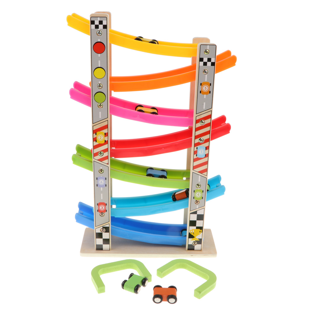 Wooden 7 Layer Ramp Race Track Car Ramp Racer With 8 Mini Inertia Cars Sliding Toy Toddlers Kids Developmental Vehicel Train Toy in Diecasts Toy Vehicles from Toys Hobbies