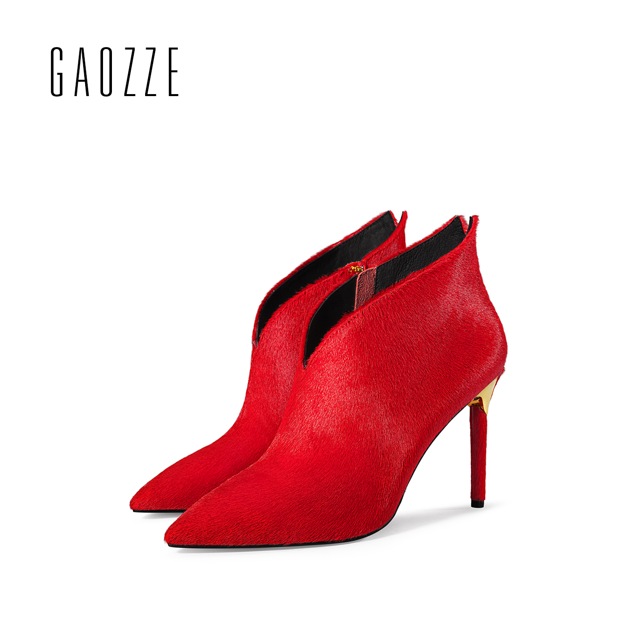 GAOZZE sexy high-heeled boots women fashion V-CUT ankle boots 2017 autumn winter new side zipper pointed red boots for women gaozze autumn ankle boots for women 2017 new sexy thin high heeled boots women side zipper fashion pointed toe shoes red boots