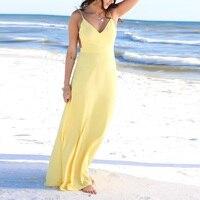 Women summer dress sexy beach dress 2017 v neck backless yellow maxi dress women pink robe femme long vestido plus size XL