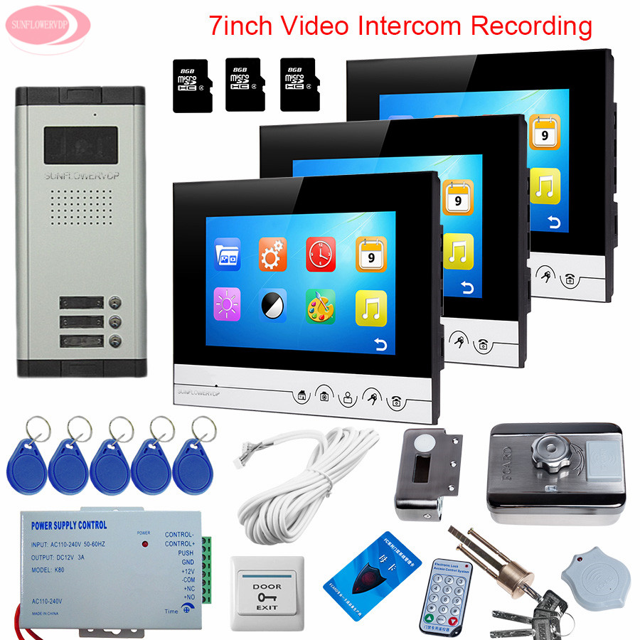7'' Video Intercom System For 3 Apartments Video Intercom With Recording +8GB TF Card Intercom With Rfid Unlock Electronic Lock rfid keyboard ip65 waterproof video doorphone intercom system for 3 apartments with 7 color lcd video intercom system in stock
