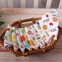 Cute Double Print Bibs 100% Natural Cotton Cartoon Triangle Baby Bib for Burp Cloth Infant Scarf Waterproof Dinner Feeding
