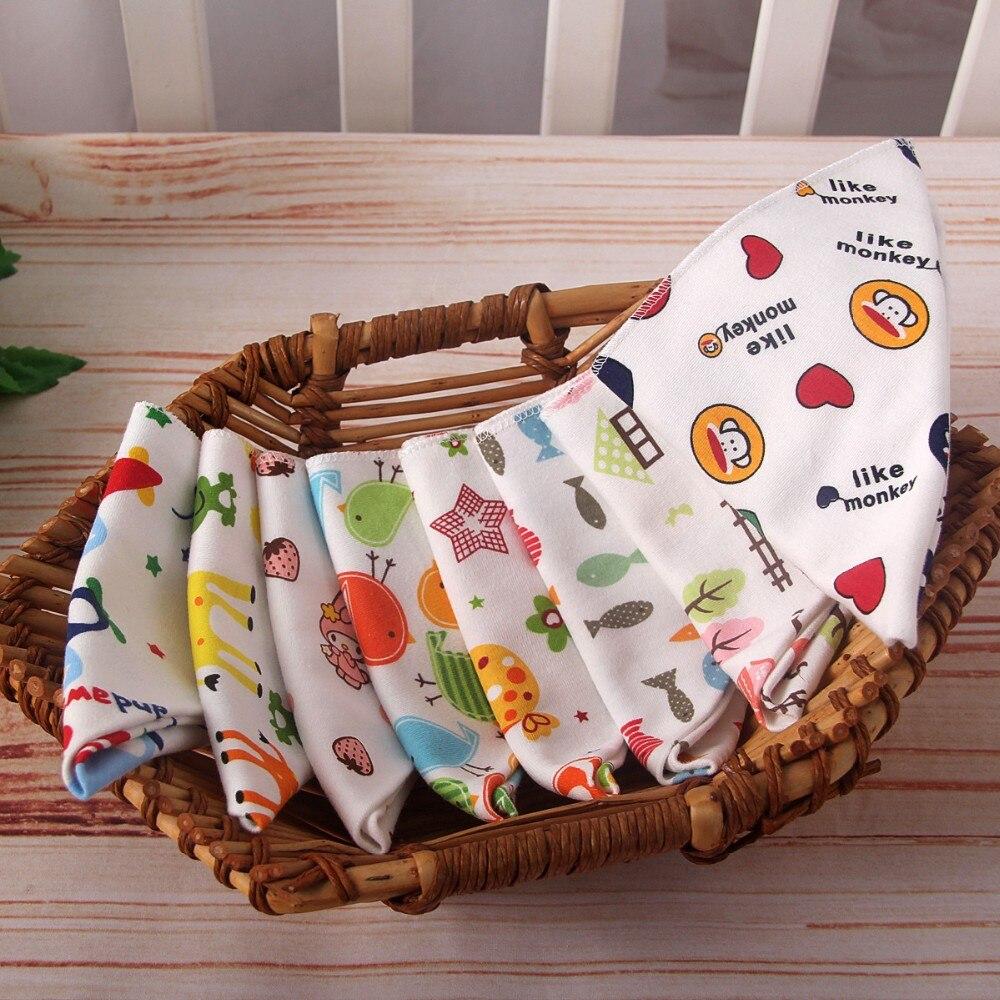 6Pcs/lot Cute Double Print Bibs 100% Cotton Cartoon Triangle Baby Bib for Burp Cloth Infant Scarf Waterproof Dinner Feeding Bibs