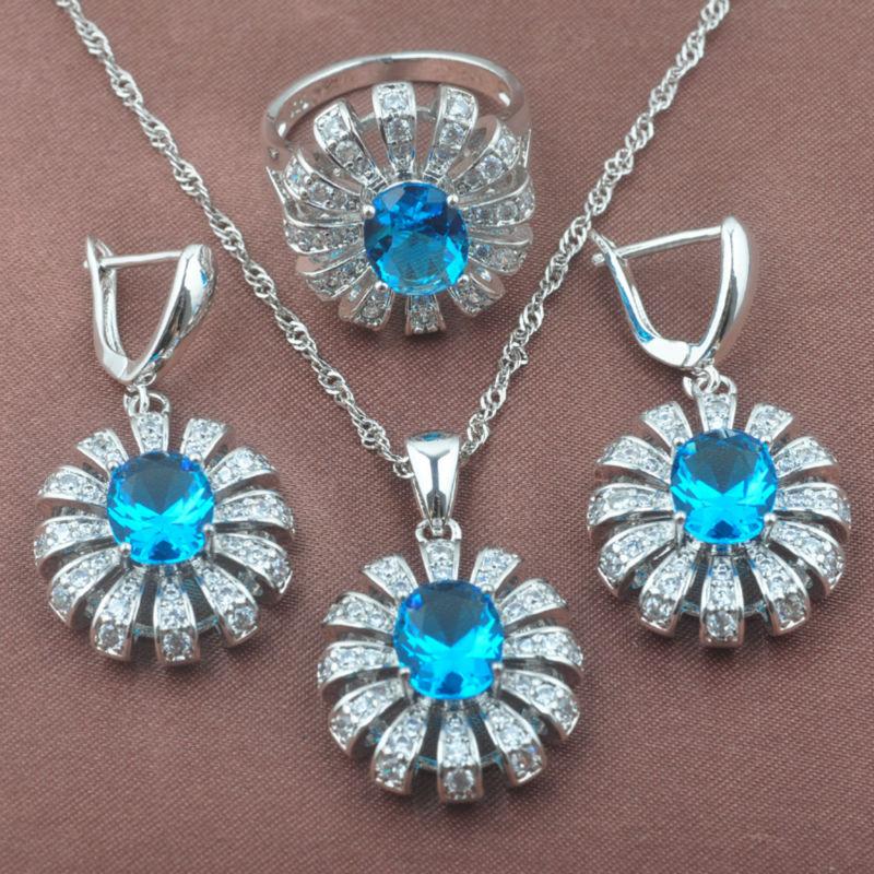 2019 Neue Himmel Blau Zirkon Frauen 925 Sterling Silber Schmuck Sets Halskette Anhänger Ohrringe Ring Tz0471 Gute QualitäT