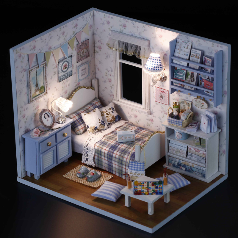 DIY МОДЕЛЬ Миниатюрный Кукольный дом Кукольный домик с мебелью светодиодный 3D деревянный дом Игрушечные лошадки для Детский подарок ручной ...