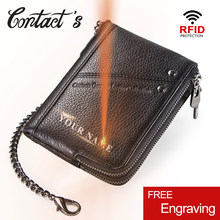 Contact's Genuine Leather Men Wallet Rfid Coin Purse Card Holder Fashion Small Walet Brand Design Male Clutch Zipper Money Bag(China)