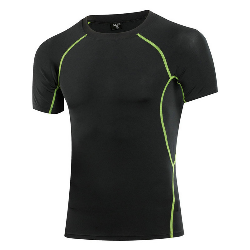Quickly Dry Elastic Tights Fitness T-Shirt Men Short Sleeve Basketball Running Sports Shirt Bodybuilding Compression Gym wear