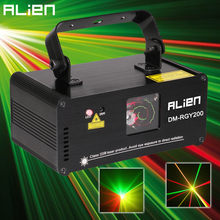 ALIEN Remote DMX512 200mW RGY Laser Stage Lighting Scanner Effect Dance DJ Disco Party Show Light Xmas Projector Lights(China)