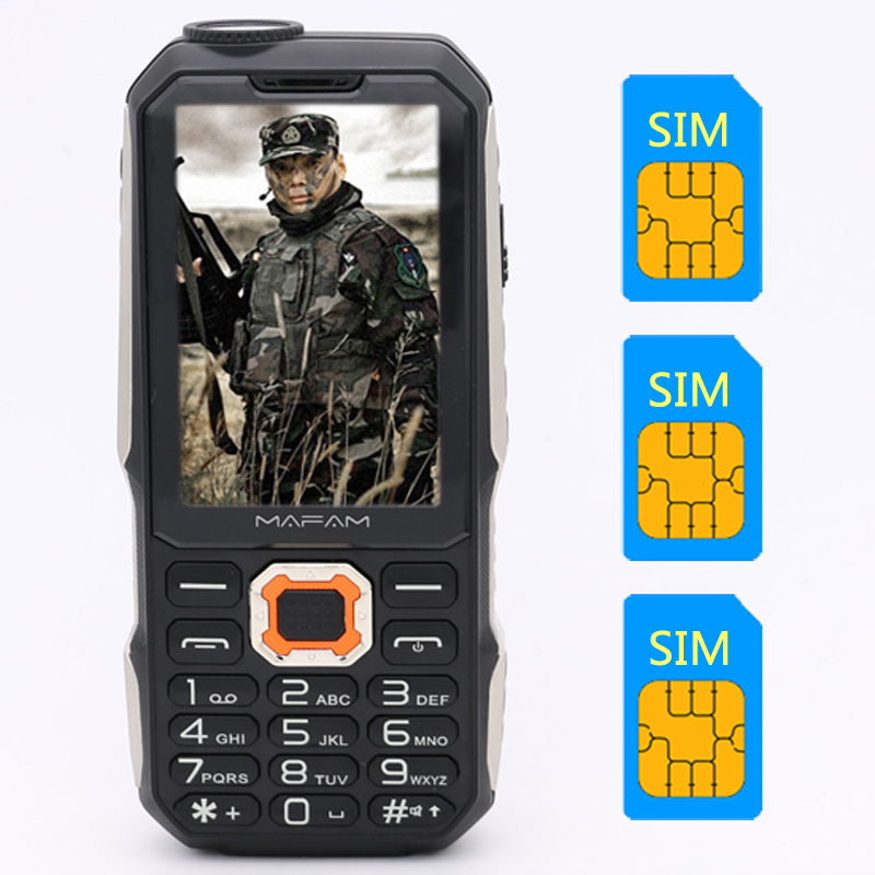 M3 Big Display Three 3 SIM Card 3 Standby Big Voice Fast Dialing Mobile Phone Tachograph FM Power Bank Cellphone P181