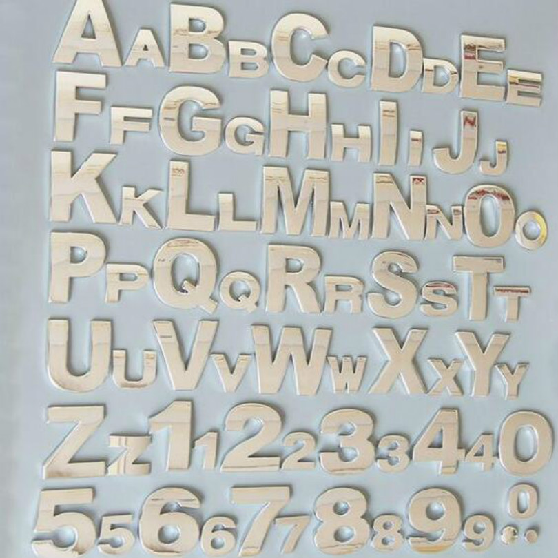 silvery height 4 5CM Letter alphabet number digit car emblem Letters T U V W X Y Z 1 2 3 4 5 6 7 0 for modify decoration in Emblems from Automobiles Motorcycles
