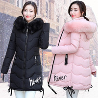 Korean Women winter jacket plus size thick Fur Hooded hever letter print long Cotton Padded 2017 woman jacket Female Coat Parka