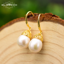 XlentAg Natural Pearl Dangle Earrings Gold Plated For Women Party Gift 925 Sterling Silver Drop Earrings Luxury Jewelry GE0672 double r brand new jewelry earrings for women hot sale yellow gold plated 925 sterling silver drop earrings case04266sc 2