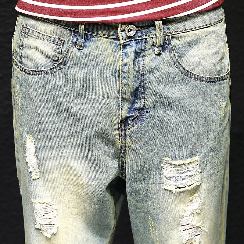 Mens jeans, spring, mens clothing, tide brand, loose little straight feet, jeans and trousers.