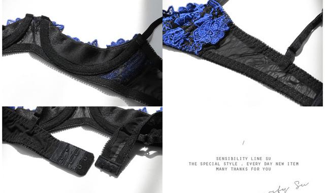 Blue Open Bra Crotchless Sexy Underwear Embroidery Bra Panties Underwear Suit Ladies Temptation Nightwear Lingerie Set