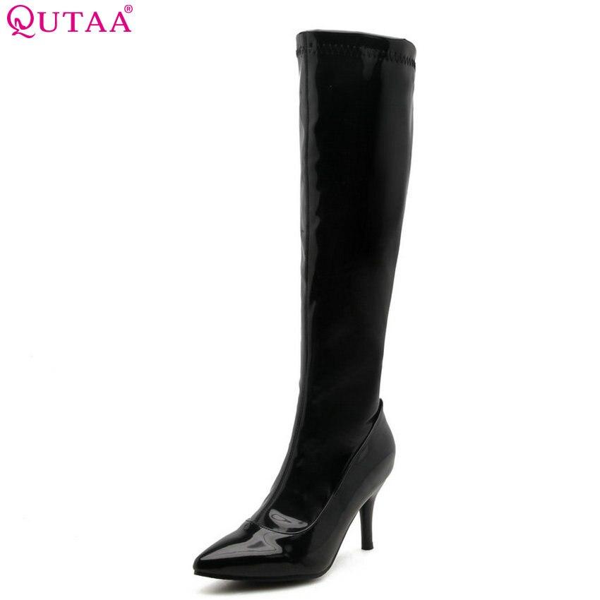 Herrenschuhe Neueste Kollektion Von Qutaa 2019 Frauen Kniehohe Stiefel Patent Leder Zipper Winter Schuhe Plattform Dünne High Heel Elegante Damen Stiefel Große Größe 34-43 Schuhe