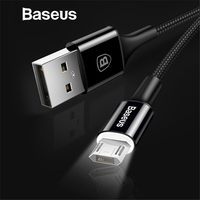 Baseus LED Lighting Micro USB Cable for Xiaomi Redmi 4X Note 4 5 Reversible Micro USB Charging Cable for Samsung S7 Mobile Phone Mobile Phone Cables