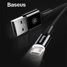 Baseus LED Lighting Micro USB Cable for Xiaomi Redmi 4X Note 4 5 Reversible Micro USB Charging Cable for Samsung S7 Mobile Phone