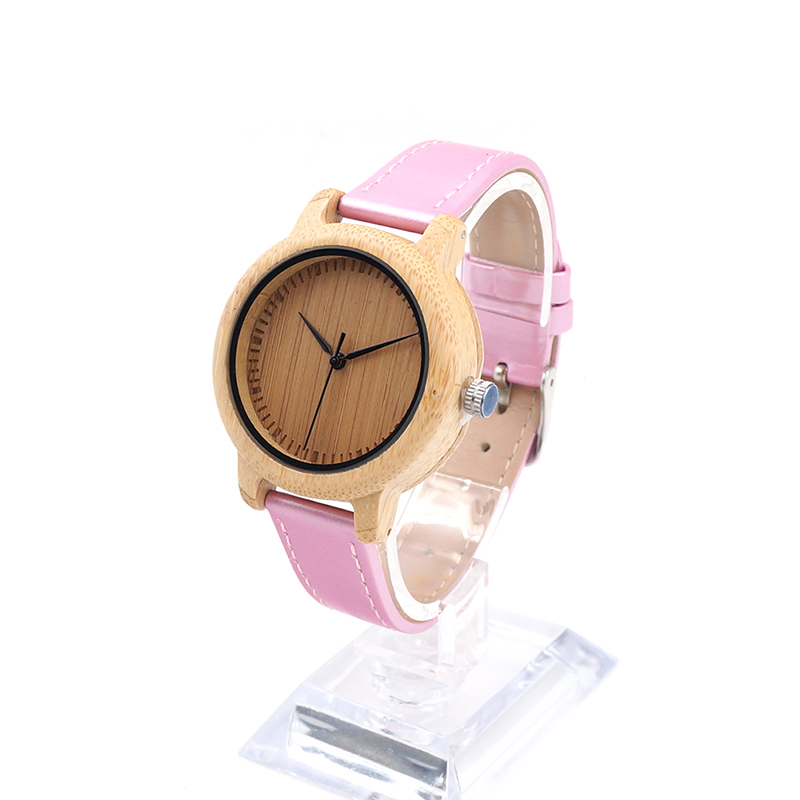 ФОТО BOBO BIRD J08 Bamboo Women Watch Simple  Pink PU Leather Band Quartz Watches Gril Women's Relojes mujer Accept OEM