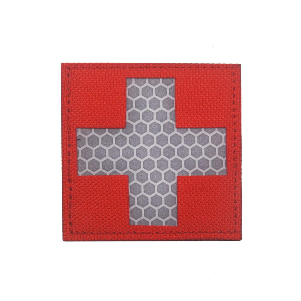 Reflective Medic Patches Tactical Medical Patches Hook-Fastener Backing Cross Medical Rescue Ir Chapter Reflective Velcro Pack