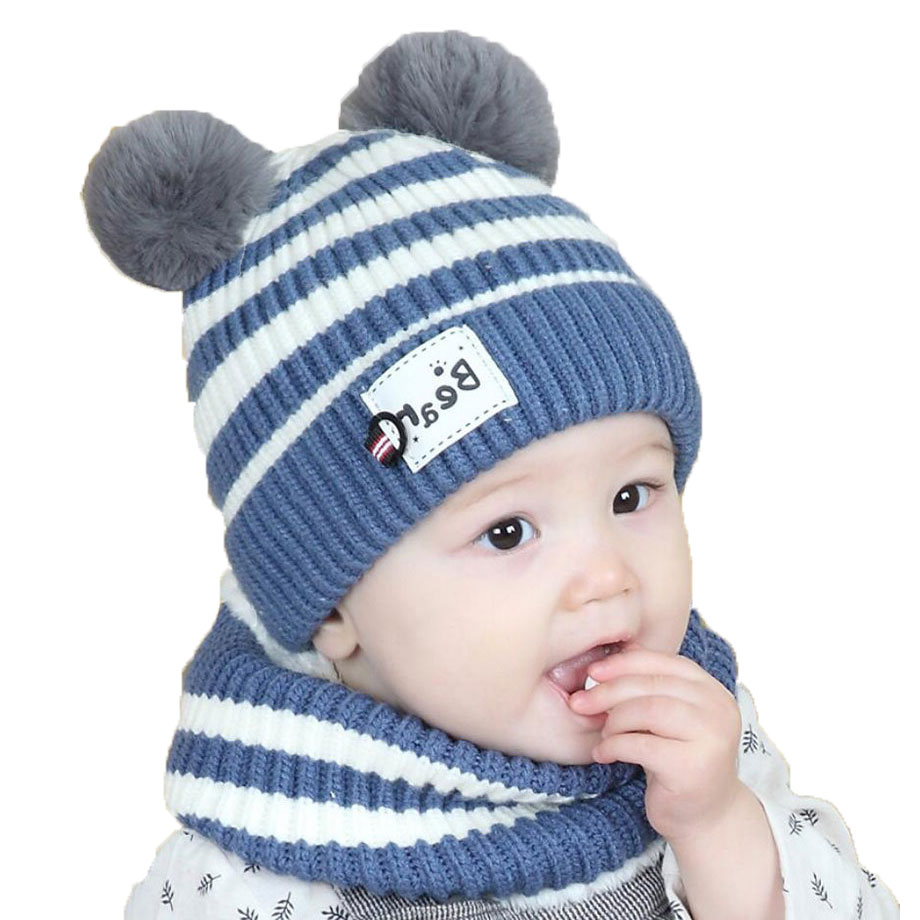 Winter Baby Cap Set Girl Hat And Scarf Sets For Kids Boys Stripe Knit Pom Pom Beanies Cap Ring Scarves Warm 2 Pcs Suit M7079