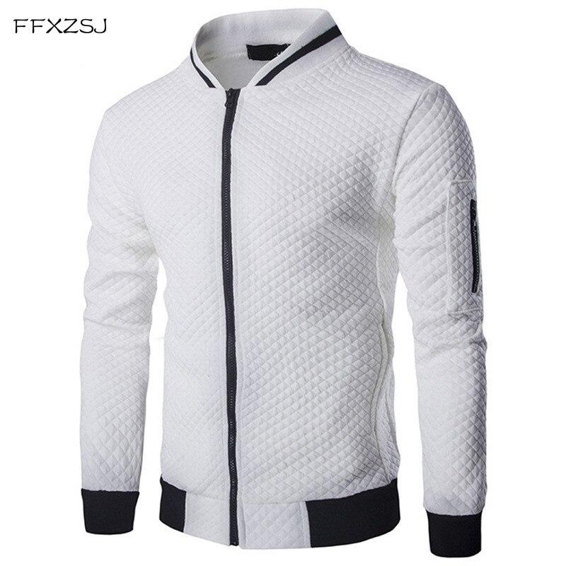 Men's Hoodie 2018 Male Brand Casual Zipper Jacket Stand-Neck Sudaderas Hombre High-Grade Sweatshirt White 3D Plaid Tracksuit XXL