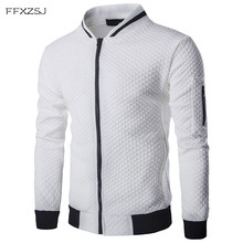 Mens Hoodie 2019 Male Brand Casual Zipper Jacket Stand-Neck Sudaderas Hombre High-Grade Sweatshirt White 3D Plaid Tracksuit XXL