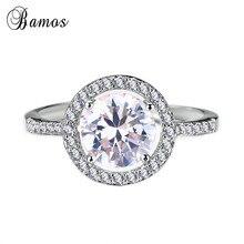 Bamos Luxury Big CZ Stone Ring Fashion 925 Sterling Silver F