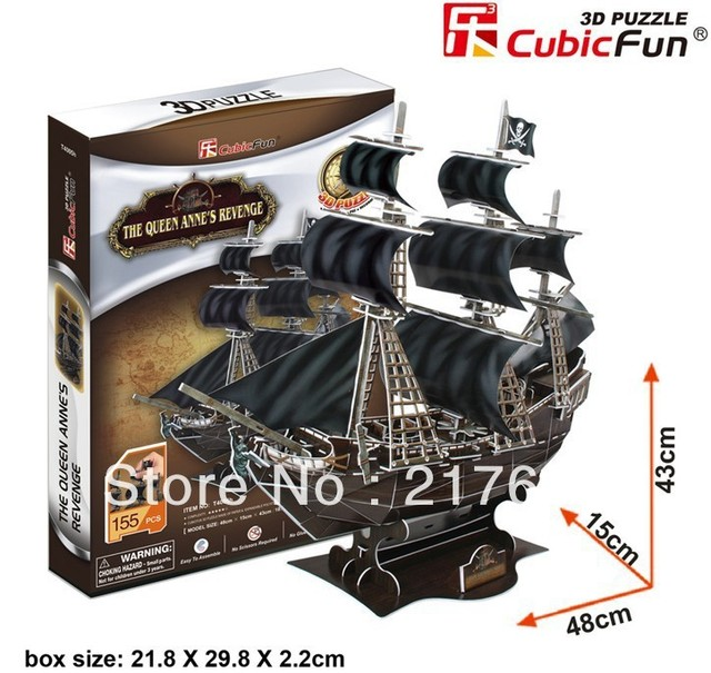 3D puzzle the queen ann's revenge , educational toy , free shipping . Hot sale