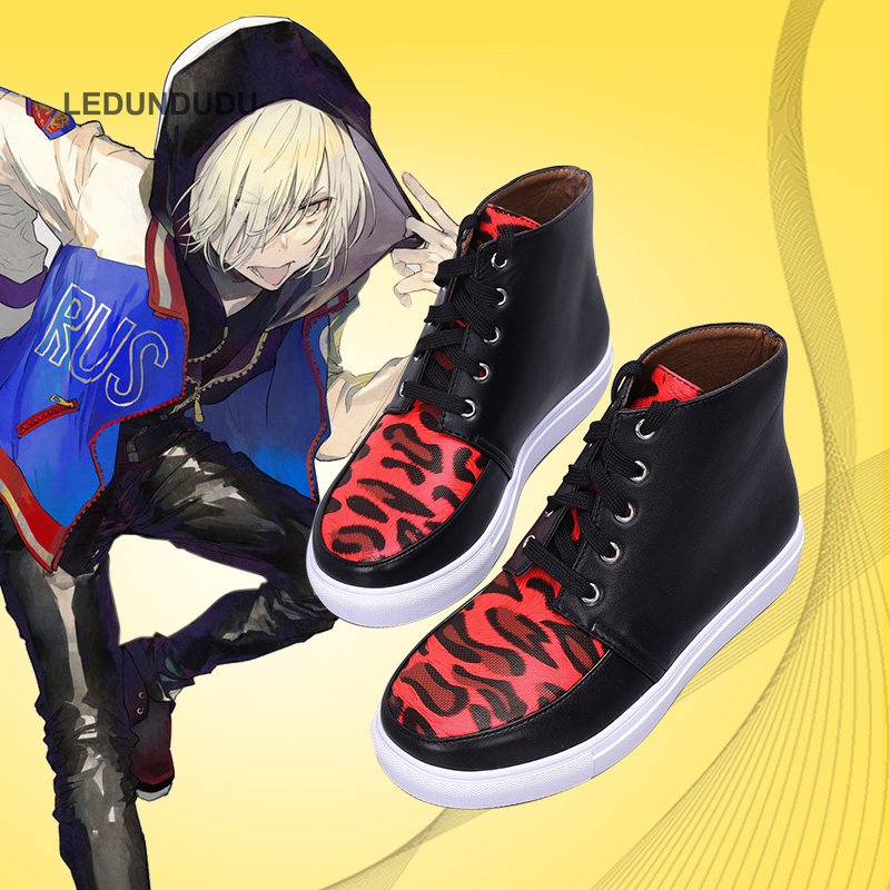 New Anime Yuri!!! on Ice Cosplay Shoes Plisetsky Yuri Red Leopard Print Lace up Sneakers Unisex Boots