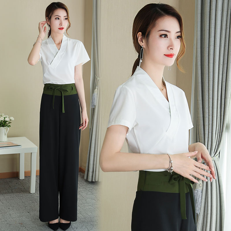 215c4215ddd S 3XL Pengpious 2018 summer office lady elegant clothes set Chinese style cross  v neck shirts+wide leg trousers twinset suits-in Women s Sets from Women s  ...