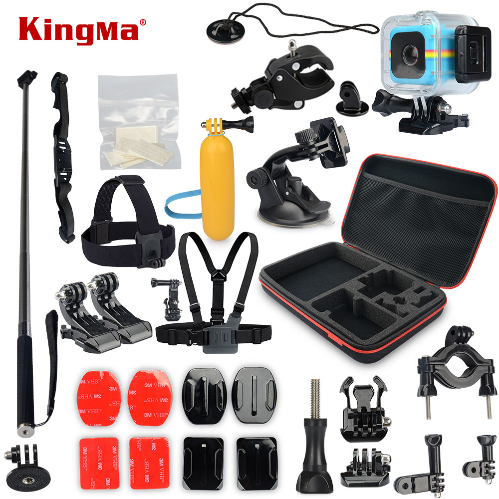 KingMa For Polaroid Cube+ Waterproof Case 17-in-1 Accessories Kit for Polaroid Cube and Cube+ Accesorios set polaroid cube blue экшн камера