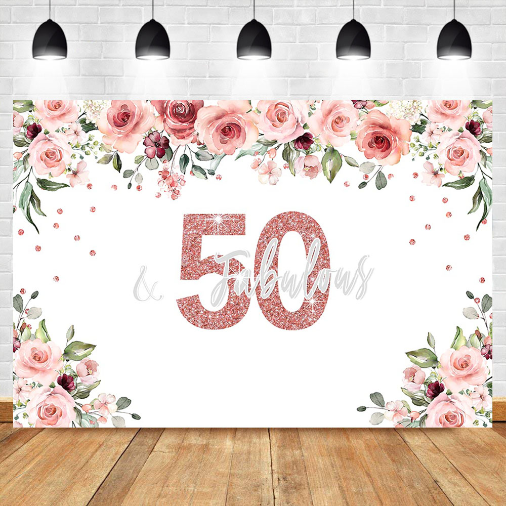NeoBack 50th Birthday Photo Backdrop Watercolor Flower Fifty Birthday Party Banner Rose Gold Vinyl Photography Background