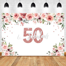 NeoBack 50th Birthday Photo Backdrop Watercolor Flower Fifty Party Banner Rose Gold Vinyl Photography Background