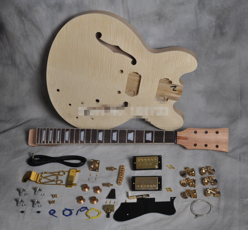DIY Electric Guitar Kit unique Body and Neck ES 335 style wholeslale dave grohl dg335 es 335 6 string electric guitar with great logo es 335 in white 100913