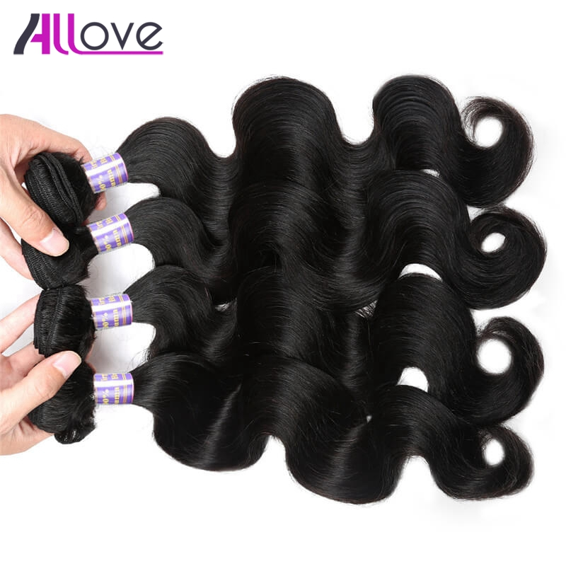 Allove Hair Brazilian Body Wave Hair 4 Bundles Human Hair Weave 100% Remy Hair Extentions Natural Color