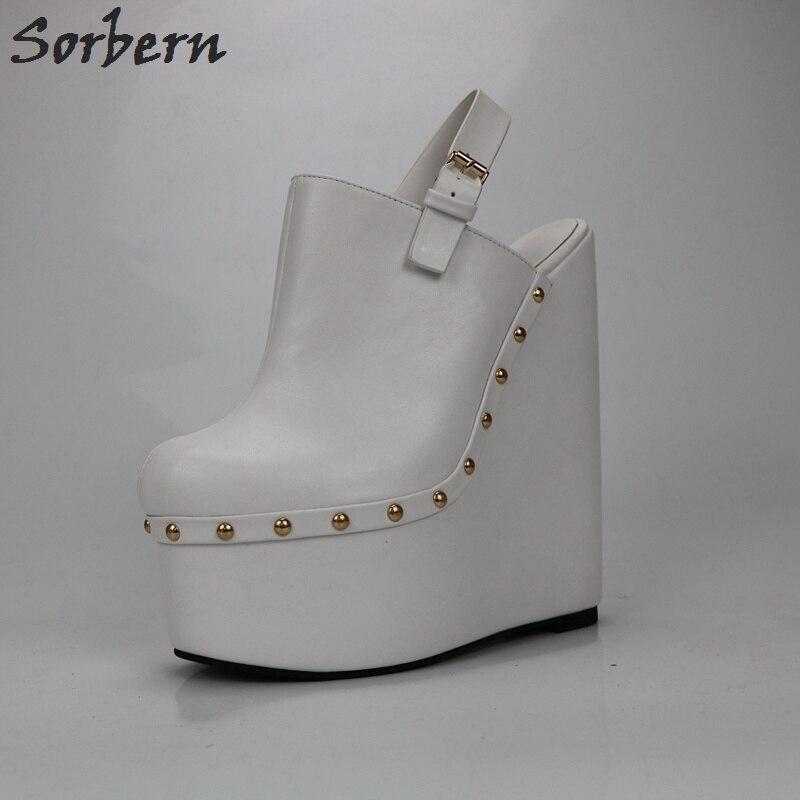 Sorbern blanc talons compensés Slingbacks 20 Cm talons hauts femmes pompes dos ouvert épais plate forme chaussures dames plate forme talons mode - 3