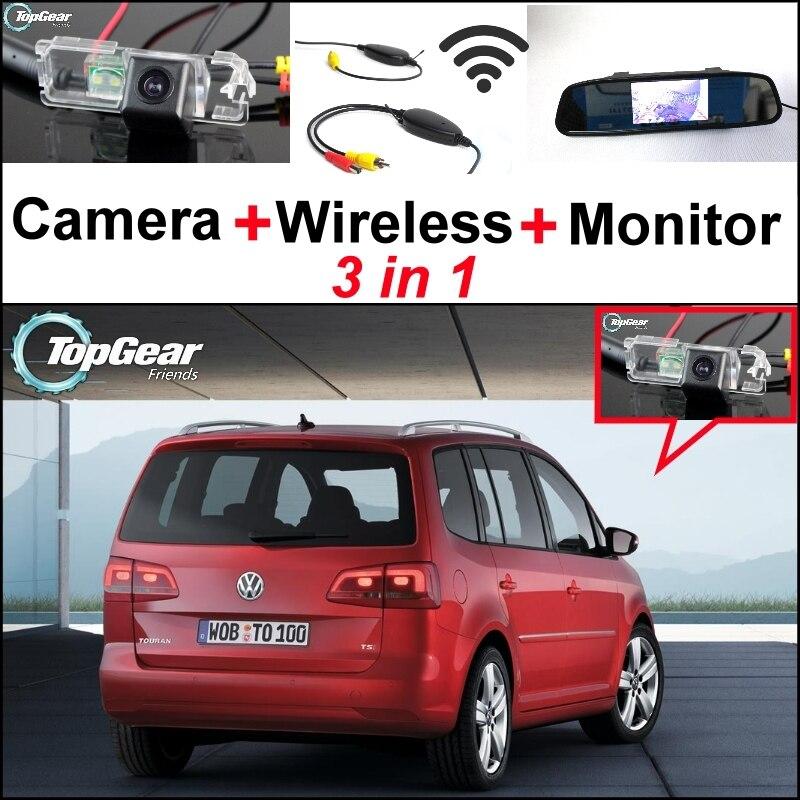 3 in1 для специального автомобиля WiFi камера + беспроводной сигнал + зеркало монитор легкое DIY Резервное копирование система парковки для Volkswagen Фольксваген Туран