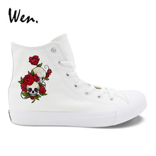 Wen Design High Top Sneakers Skulls Flower Vines Red Rose Multifloras Floral Casual Canvas